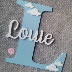 Personalised wooden wall initial with name, door sign, wooden name, wooden wall letter for kid's bedroom/nursery/playroom decor 17