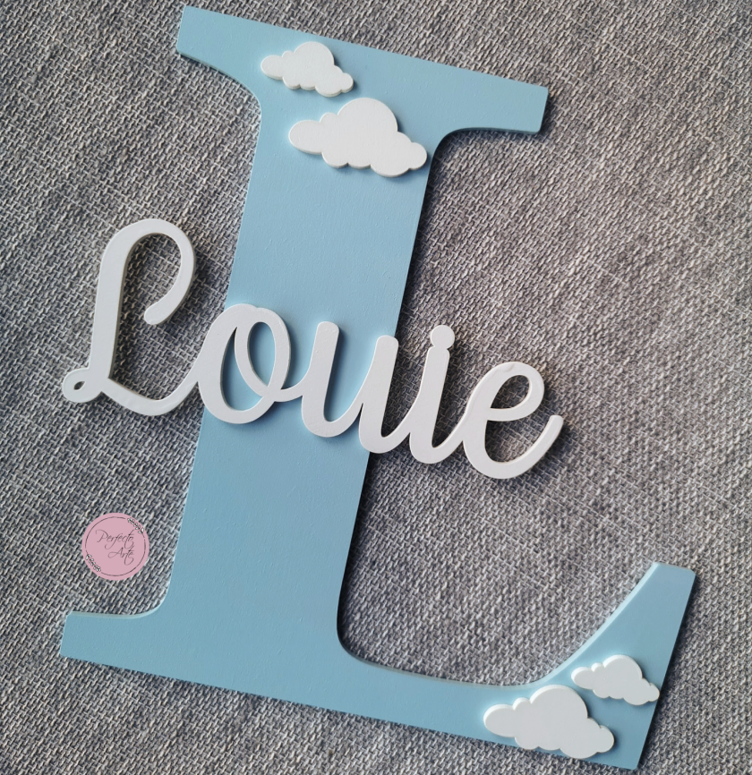 Personalised wooden wall initial with name, door sign, wooden name, wooden wall letter for kid's bedroom/nursery/playroom decor 6