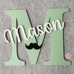 Personalised wooden wall initial with name, door sign, wooden name, wooden wall letter for kid's bedroom/nursery/playroom decor 19
