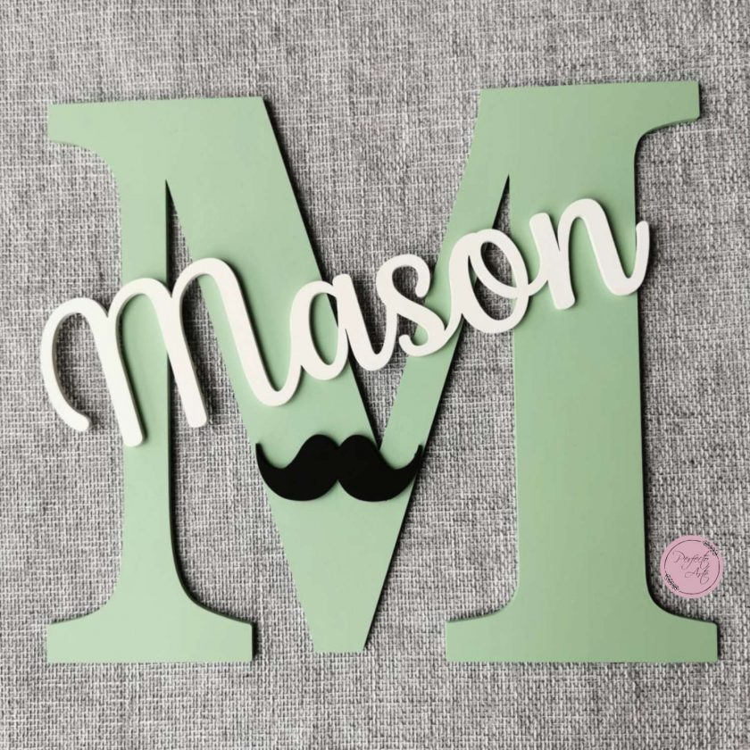 Personalised wooden wall initial with name, door sign, wooden name, wooden wall letter for kid's bedroom/nursery/playroom decor 8