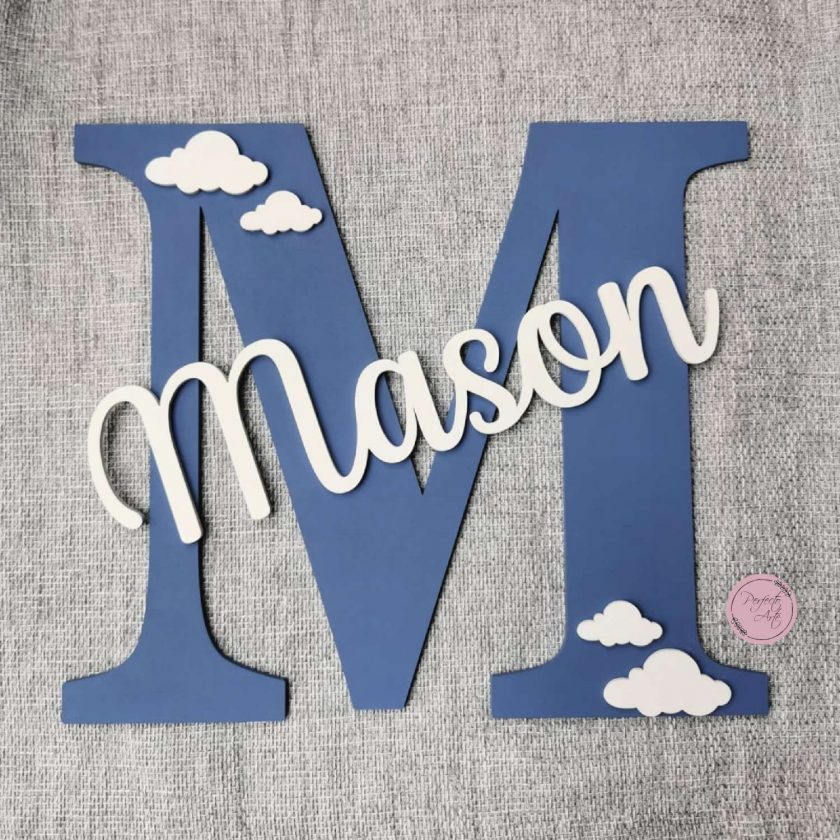 Personalised wooden wall initial with name, door sign, wooden name, wooden wall letter for kid's bedroom/nursery/playroom decor 7