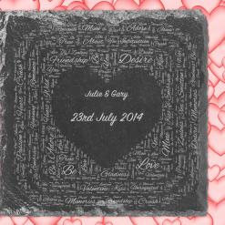 Personalised Valentine Gift, Engraved Slate Coaster