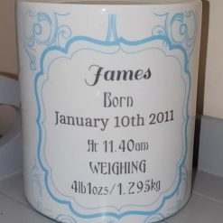 Personalised baby boys birth record money box Blue