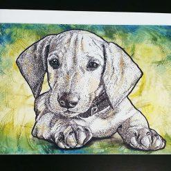 - Dachshund puppy dog greeting card