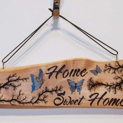Home Sweet Home Wooden wall hanger with Lichtenberg Fractal and Pyrography Burning