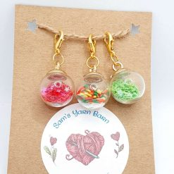Apple collection glass stitch/progress marker charm for crochet and knitting
