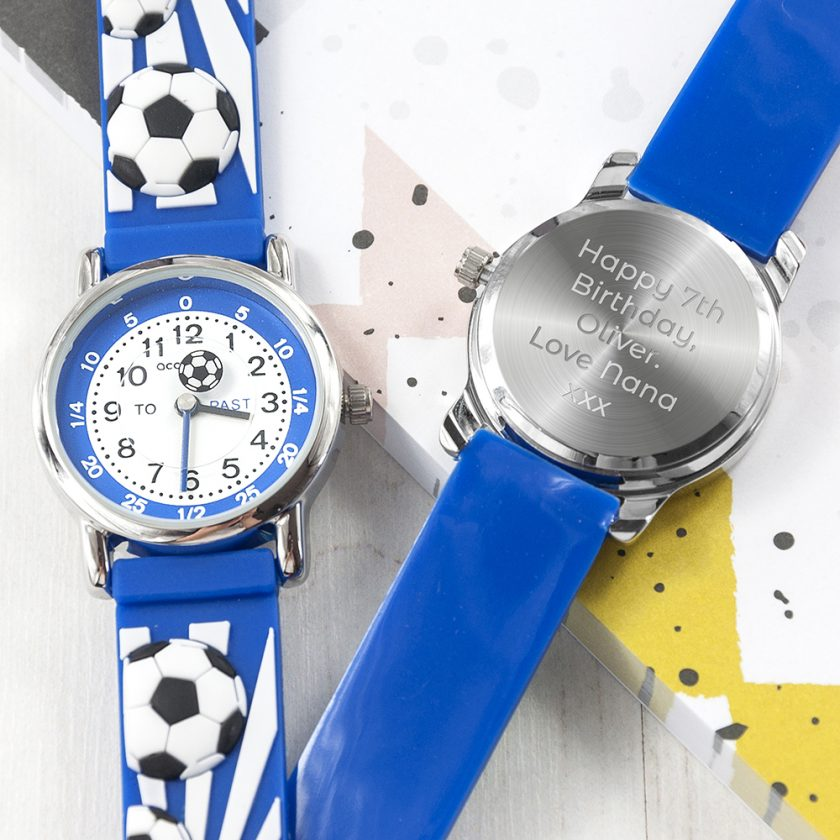Kids Personalised Blue Football Watch 1
