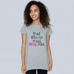 Eat, Sleep, Knit, Repeat - Ladies crew neck t-shirt