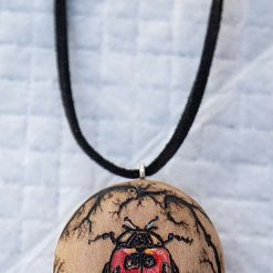 Pyrography and Lichtenberg Handmade Burnt Ladybird Necklace