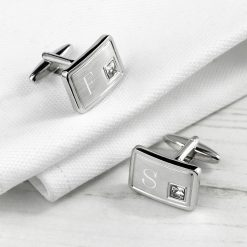 Personalised Brushed Silver Cufflinks With Crystal 13