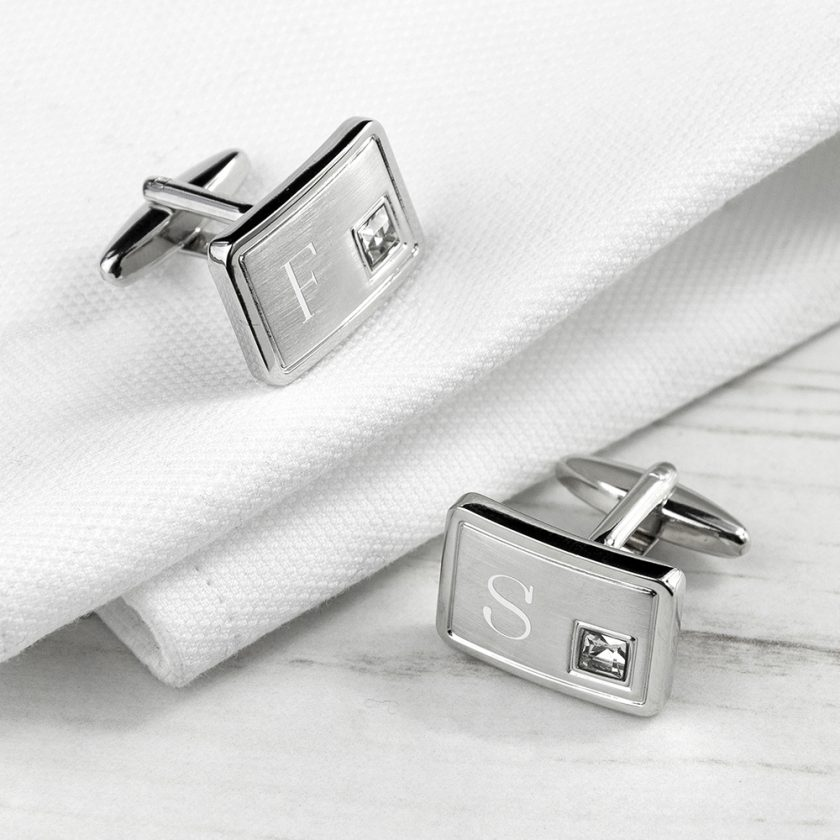 Personalised Brushed Silver Cufflinks With Crystal 7