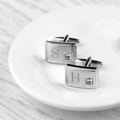 Personalised Brushed Silver Cufflinks With Crystal 12