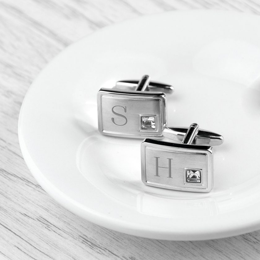 Personalised Brushed Silver Cufflinks With Crystal 6