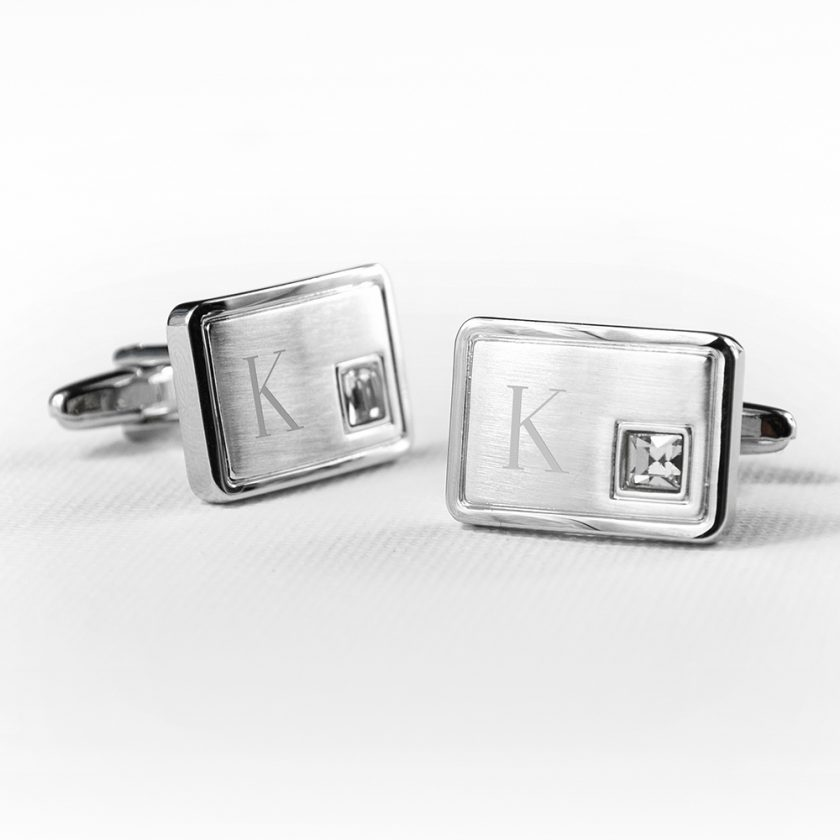 Personalised Brushed Silver Cufflinks With Crystal 5