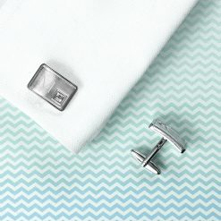 Personalised Brushed Silver Cufflinks With Crystal 10