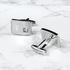 Personalised Brushed Silver Cufflinks With Crystal 9