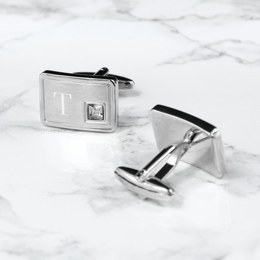 Personalised Brushed Silver Cufflinks With Crystal 3