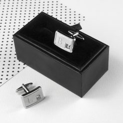 Personalised Brushed Silver Cufflinks With Crystal 8