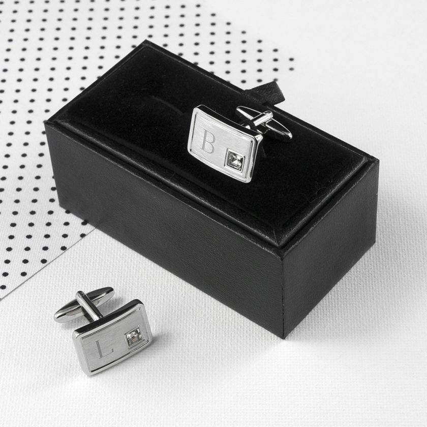Personalised Brushed Silver Cufflinks With Crystal 2