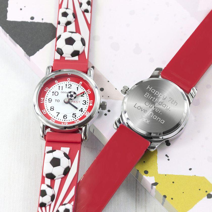 Kids Personalised Red Football Watch 1