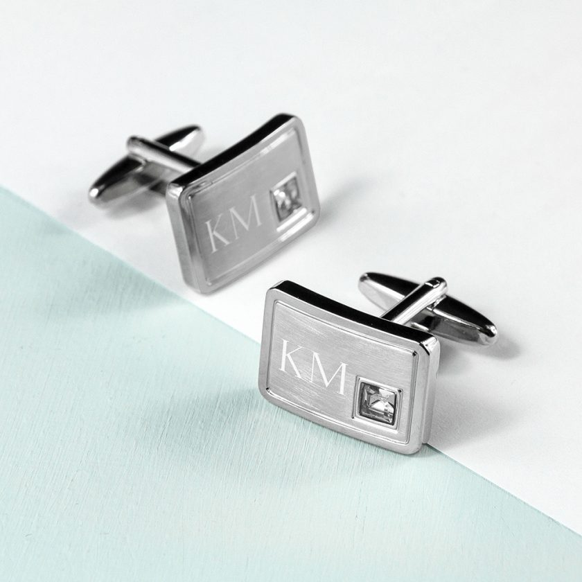Personalised Brushed Silver Cufflinks With Crystal 1