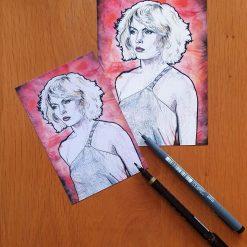 Debbie Harry, Blondie - 4x6 or 5x7 print of watercolour and ink portrait.