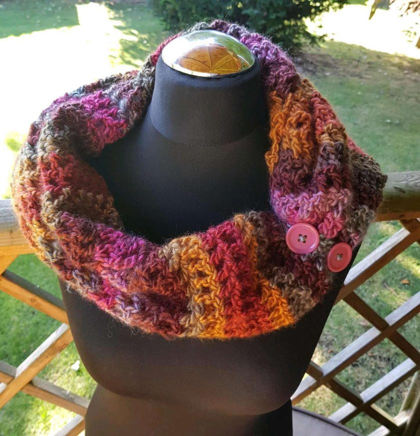 Handmade crocheted cowl/neck wrap multi coloured 3