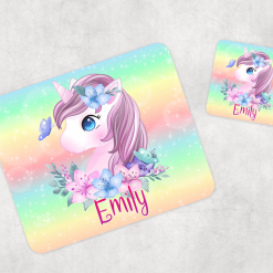 Personalised Kids Unicorn Wooden Glossy Placemat and Coaster Set of 2