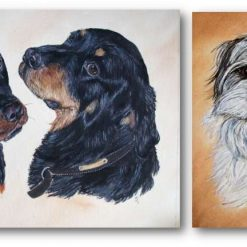 """Pet portrait, double mounted 10"""" x 12.""""  Free postage Dog, cat, horse etc from your photo."""
