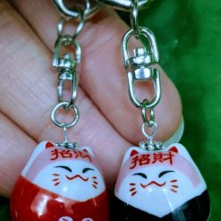 PAIR OF LUCKY CAT KEYRINGS FOR VALENTINE'S, HIS AND HERS, MOTHER AND DAUGHTER, SISTERS