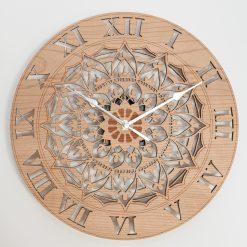 Oak, Walnut or Cherry - Wood Flower Mandala Ornate Wall Clock