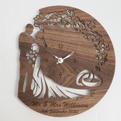 Personalised Oak, Walnut or Cherry - Wood Wedding / Anniversary / Valentine's Wall Clock