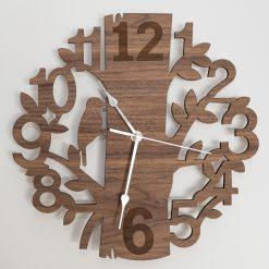 Oak, Walnut or Cherry - Wood Engraved Nature / Bird Wall Clock