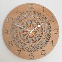 Oak, Walnut or Cherry - Wood Mandala Cut-Out Wall Clock