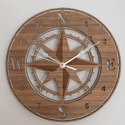 Oak, Walnut or Cherry - Wood Engraved Navigator / Compass Wall Clock