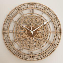 Oak, Walnut or Cherry - Wood Big Ben Ornate Cut-Out Wall Clock