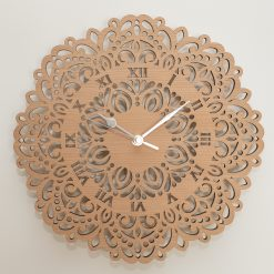 Oak, Walnut or Cherry - Wood Flower Mandala Cut-Out Wall Clock