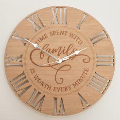 Oak, Walnut or Cherry - Wood Engraved Family Wall Clock