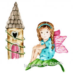Art Stickers, Sticker for Wall, Furniture and DIY Projects - Decal- Transfer- Vintage -Cute Fairy Girl / 038