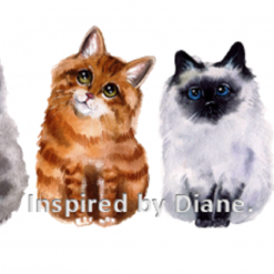 Art Stickers, Sticker for Wall, Furniture and DIY Projects - Decal- Transfer- Vintage -Cute Cat Family Kittens /040