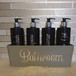 Black Hinch style pump bottles bathroom set.