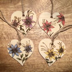Hand burnt pyrography wooden gift tags.