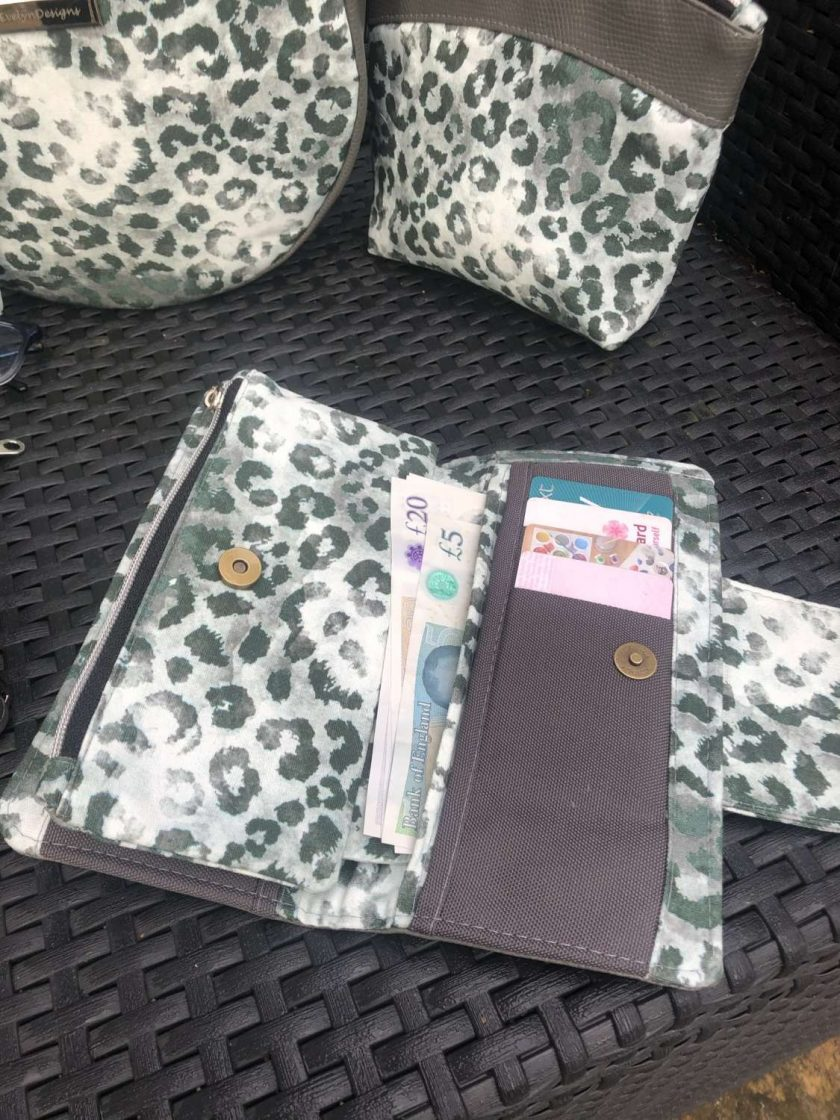 Shadow Kitty purse, wallet, faux leather and canvas, grey and green, ladies gift ideas, Mother's Day gift