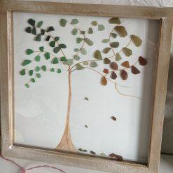 Seasons Tree seaglass framed art