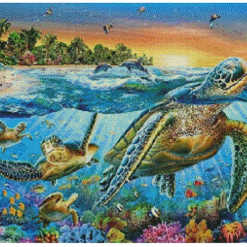 BlueOwl- Cross Stitch 14 count Kit 60x45 cm Turtles (101198)