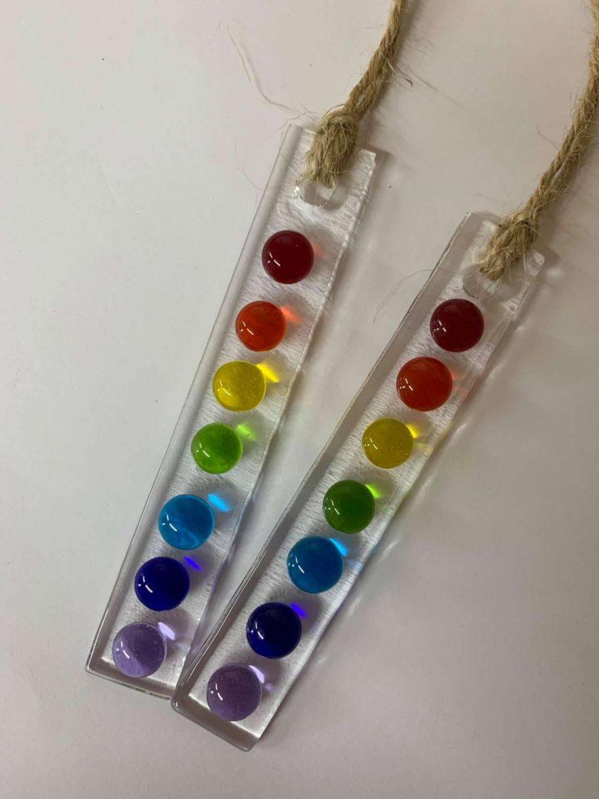 Small Rainbow Dot Fused Glass Wish Stick