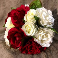 Red and white bridal bouquet and matching groom's buttonhole
