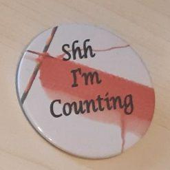 Knitting themed pin badge
