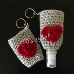 Crochet hand sanitiser holder