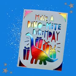 Rainbow Papercut 'Dinosaur Birthday' handmade birthday card